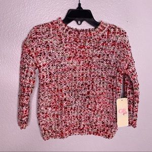NWT GB Girls Red & White Pullover Sweater